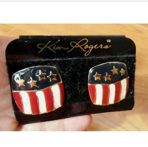KIM ROGERS Patriotic Flag Earrings Red White Blue